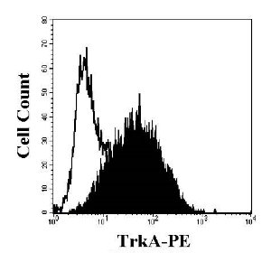 K562 cells were stained with APC-conjugated anti-human TrkA (filled histogram) or APC-conjugated isotype control (open histogram). Protocol on data-sheet.
